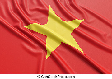 Vietnam flag. Wavy fabric high detailed texture. 3d...