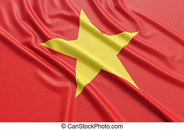 Vietnam flag. Wavy fabric high detailed texture. 3d...