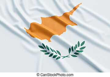 Cyprus flag. Wavy fabric high detailed texture. 3d...