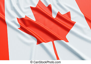 Canada flag. Wavy fabric high detailed texture. 3d...