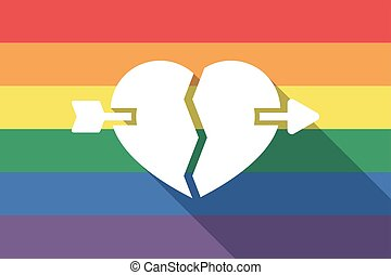 Long shadow gay pride flag with a broken heart pierced by an...