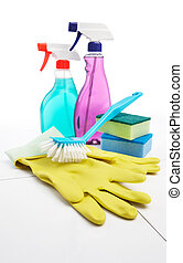 cleaning equipment - small group of cleaning equipment on...