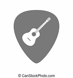 Isolated guitar plectrum with a six string acoustic guitar -...
