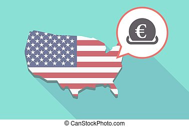 Long shadow USA map with an euro coin entering in a moneybox...