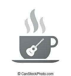 Isolated coffee mug with a six string acoustic guitar -...
