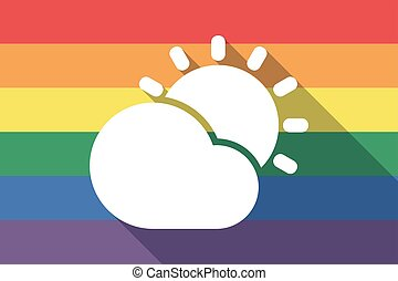 Long shadow gay pride flag with  the Sun shining behind a cloud