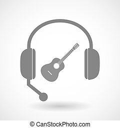 Isolated hands free headphones with a six string acoustic...