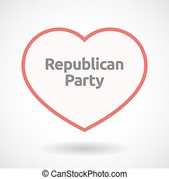 Isolated line art heart with the text Republican Party -...