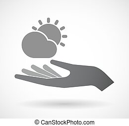Isolated hand with  the Sun shining behind a cloud