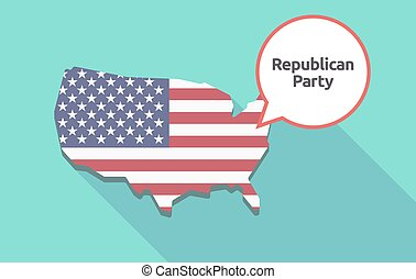 Long shadow USA map the text Republican Party - Long shadow...