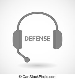 Isolated hands free headphones with  the text DEFENSE