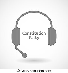 Isolated hands free headphones with the text Constitution...