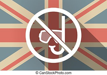Long shadow UK flag with  a diving glasses and a snorkel  in a not allowed signal