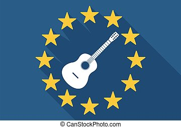 Long shadow EU flag with a six string acoustic guitar -...