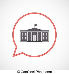 Isolated comic balloon with  the White House building