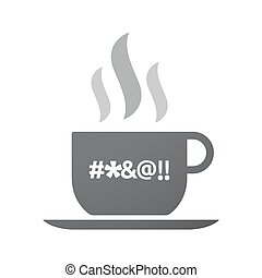 Isolated coffee mug with a cursing tex - Illustration of an...