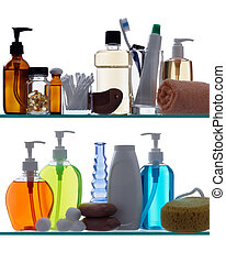 bathroom products on shelves - personal hygiene products on...