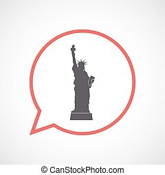Isolated comic balloon with  the Statue of Liberty