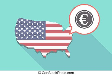 Long shadow USA map with an euro coin - Long shadow map of...