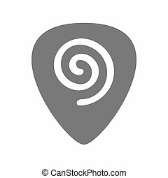 Isolated guitar plectrum with  a spiral
