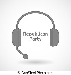Isolated hands free headphones with the text Republican...