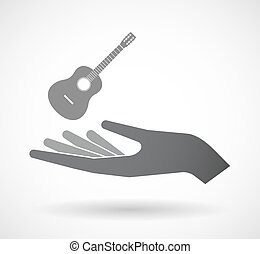 Isolated hand with a six string acoustic guitar -...