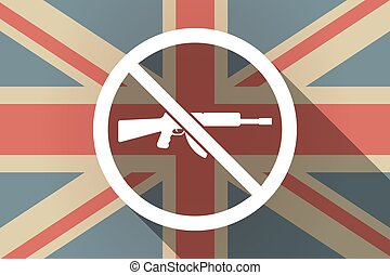 Long shadow UK flag with  a rifle  in a not allowed signal