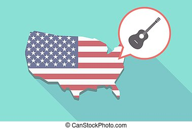 Long shadow USA map with a six string acoustic guitar - Long...