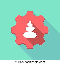 Long shadow gear with a stacked zen stones - Illustration of...