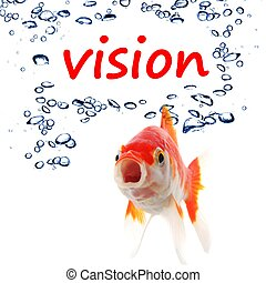vision wird and goldfish showing business creativity or...