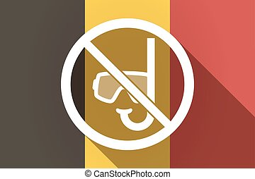 Long shadow Germany flag with  a diving glasses and a snorkel  in a not allowed signal