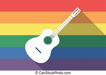 Long shadow gay pride flag with a six string acoustic guitar...