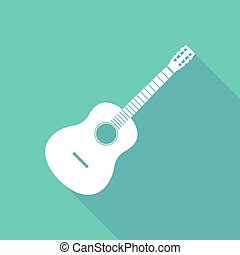 Illustration of a six string acoustic guitar - Long shadow...