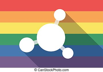 Long shadow gay pride flag with  an interconnected net sign