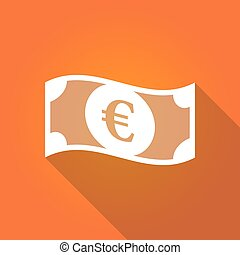 Illustration of an euro bank note - Long shadow illustration...