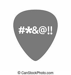Isolated guitar plectrum with a cursing tex - Illustration...