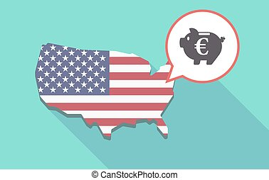 Long shadow USA map with an euro coin in a piggy bank...
