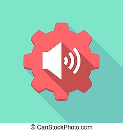 Long shadow gear with a speaker volume sign - Illustration...