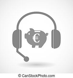 Isolated hands free headphones with  an euro coin in a piggy bank moneybox