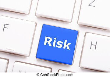 risk management concept with word on key showing risky...