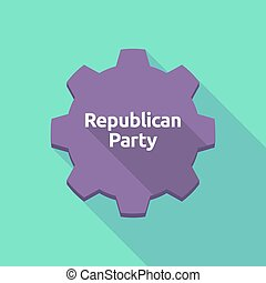 Long shadow gear with the text Republican Party -...