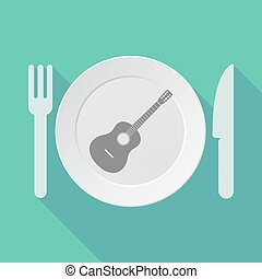 Long shadow tableware with a six string acoustic guitar -...