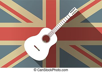 Long shadow UK flag with a six string acoustic guitar -...