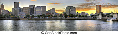 Sunset over Portland Downtown Skyline - Sunset over Portland...