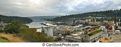 Willamette Falls Dam in Oregon City Panorama