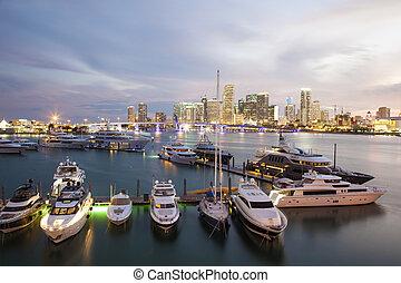 Marina in Miami, Florida - Marina in Miami illuminated at...