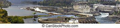 Willamette Falls Dam in Oregon City Panorama 3
