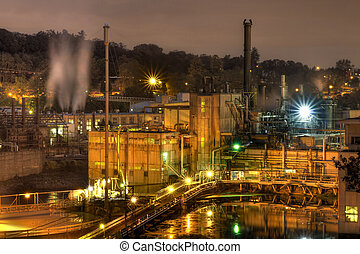 Oregon City Electricity Power Plant at Night - Oregon City...