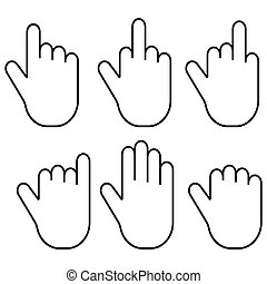 Set gestures of the fingers of the hand palm, vector set of...