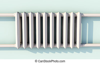 Heating radiator with thermostat, 3d rendered image